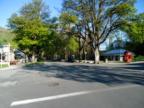 Tree lined street in the suburbs of Arrowtown